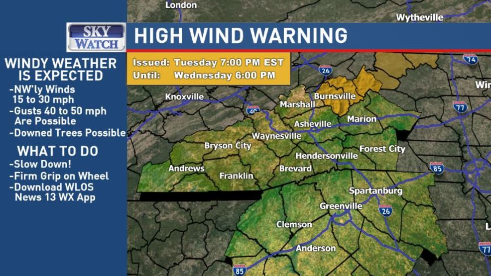 High Wind Warning Issued For Avery Yancey And Mitchell Wmya