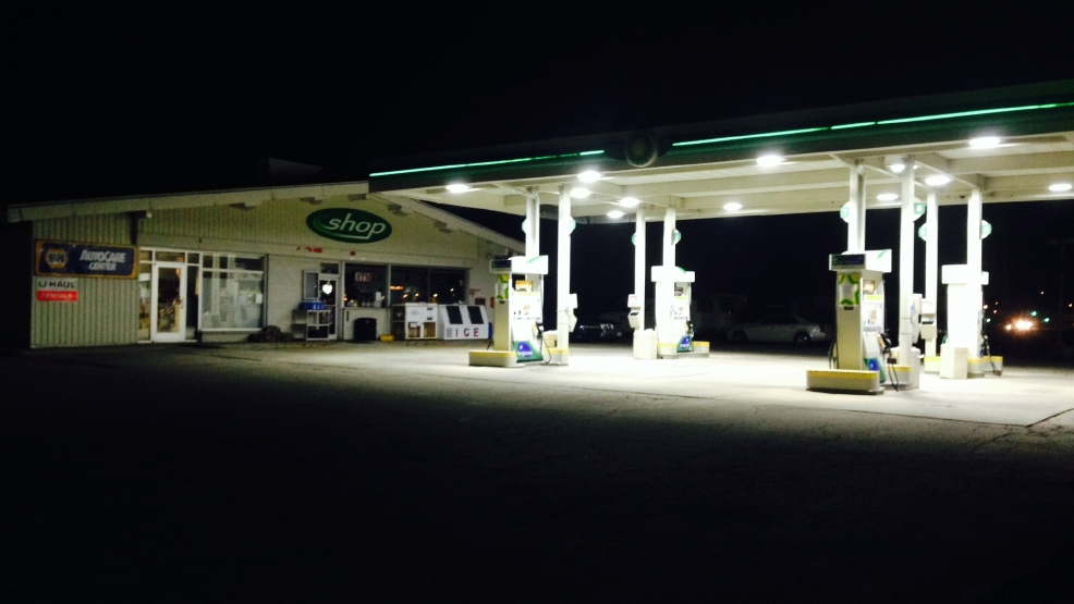 The Taylor St. BP station in Howard was robbed, April 9, 2014. (WLUK photo)