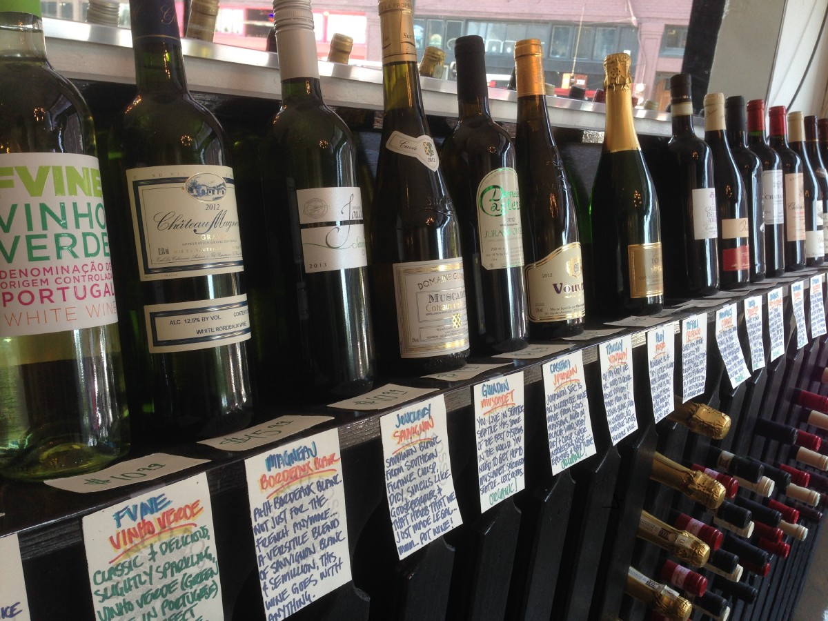 Hitchcock Deli has a few wines for sale. Varietals run the gamut that is sure to please a wine nerd, but the prices generally stay under $20. (Image: Frank Guanco)