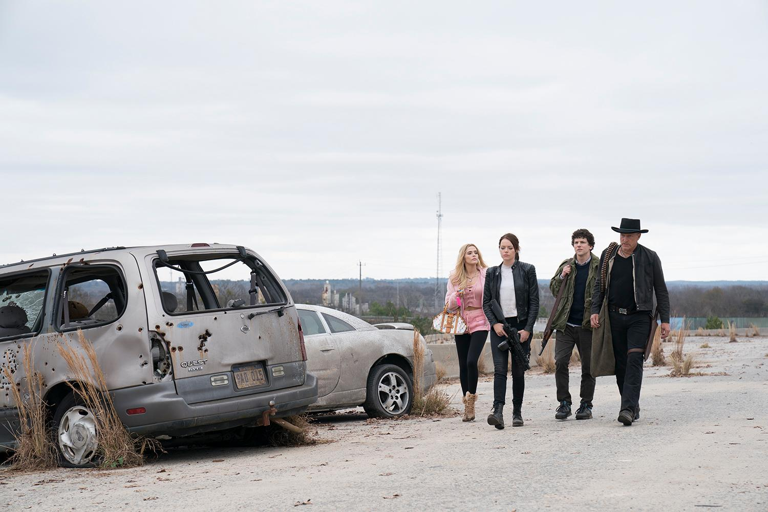 Madison (Zoey Deutch), Wichita (Emma Stone), Columbus  (Jesse Eisenberg) and Tallahassee (Woody Harrelson) in Columbia Pictures' ZOMBIELAND 2: DOUBLE TAP.{ }(Credit: Jessica Miglio / Columbia Pictures)