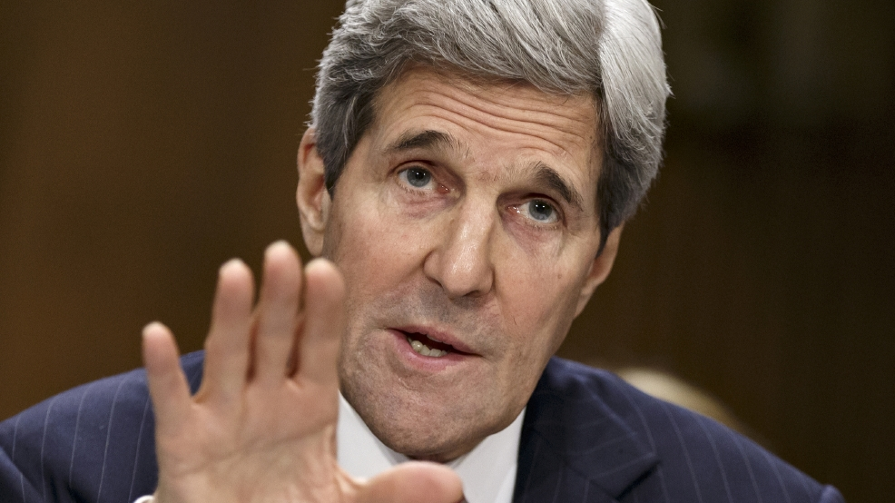 This April 8, 2014 file photo shows Secretary of State Kerry testifying on Capitol Hill in Washington. (AP Photo/J. Scott Applewhite, File)