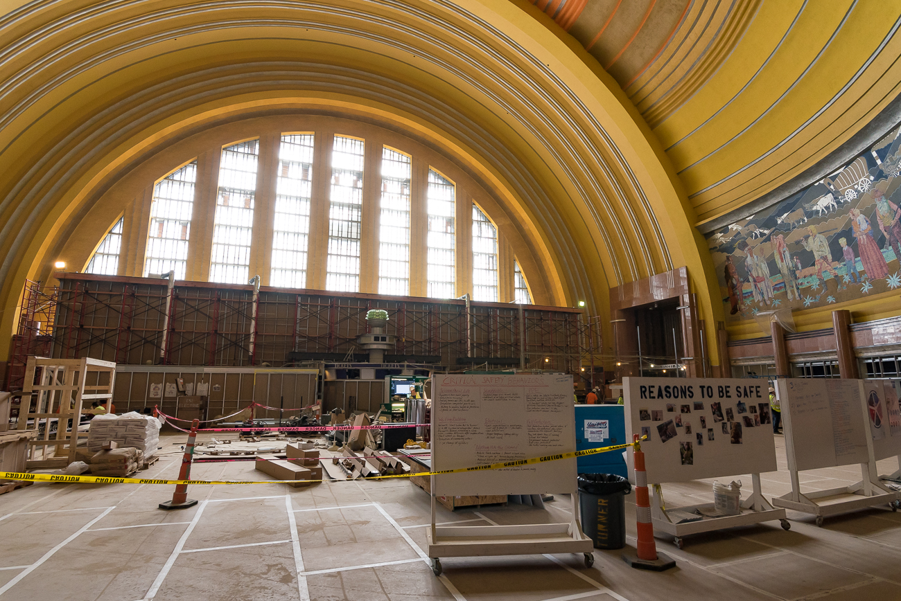 The renovation included cleaning the iconic mosaics inside the rotunda. Aside from moving tables and chairs into a nearby event space to make it less cluttered, visitors will not notice a change to Union Terminal's rotunda. / Image: Phil Armstrong, Cincinnati Refined // Published: 4.30.18