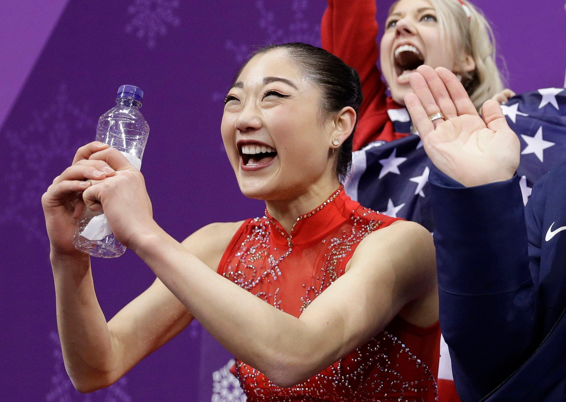 Mirai Nagasu of the United States reacts as she waits for her score in the ladies single skating free skating in the Gangneung Ice Arena at the 2018 Winter Olympics in Gangneung, South Korea, Monday, Feb. 12, 2018. (AP Photo/David J. Phillip)