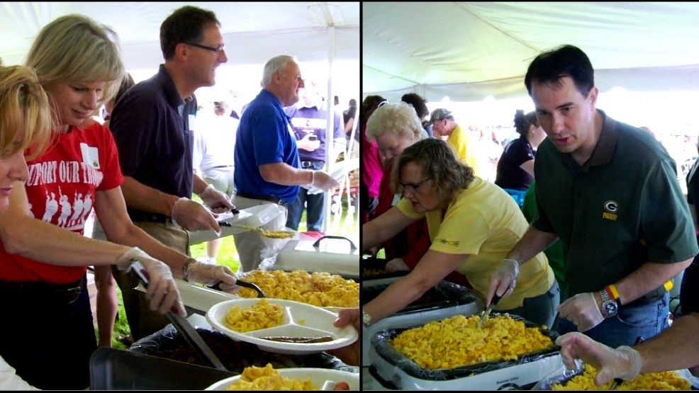 Democratic gubernatorial candidate Mary Burke (left) looks to challenge Gov. Scott Walker (right) in the November governors race. Burke and Walker served breakfast at a farm event in Brown County on Sunday, June 1, 2014.