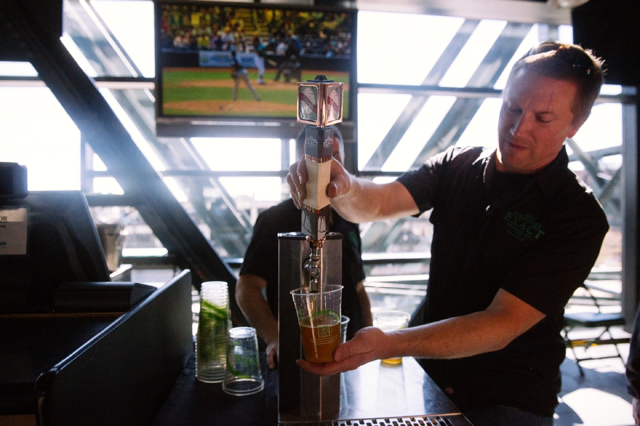 Selection of IPA or Pale Ale craft beers from Georgetown Brewing Company from the Terrace Club Lounge. 16oz, $10 or 24oz, $12. (Image: Joshua Lewis/Seattle Refined).