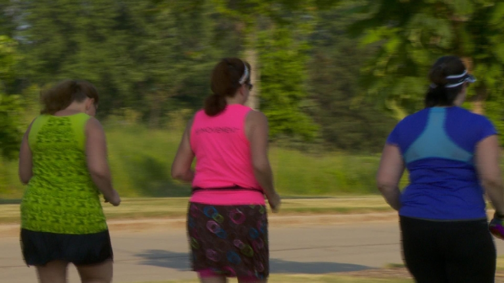 Trio Running in Memorial Park, Appleton.  July 2014