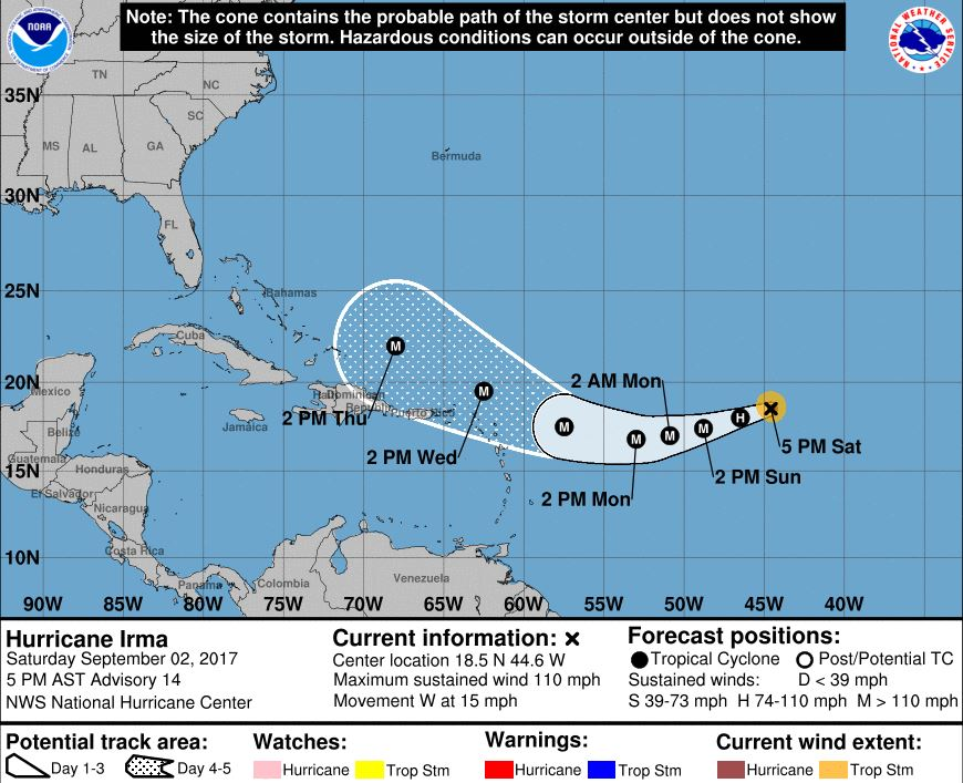 Hurricane Irma forecast cone. (National Hurricane Center)