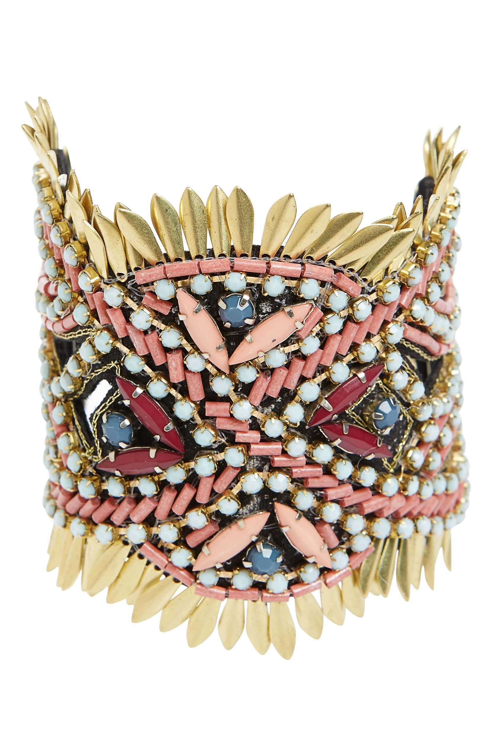 Beaded Statement Bracelet was originally $48.00 and is now $28.80. Feathery golden plates radiate from the edges of a wide, dramatic cuff bracelet alight in a rainbow of shining beads.<p>(Image: Nordstrom)</p>