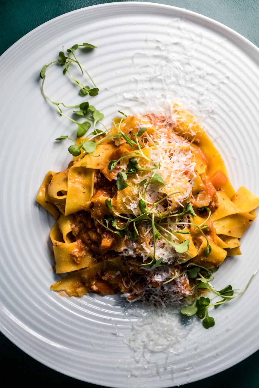 Pappardelle Bolognese: ground pork and beef, San Marzano tomato, red wine, basil, and Pecorino Romano /  Image: Catherine Viox // Published: 6.22.20