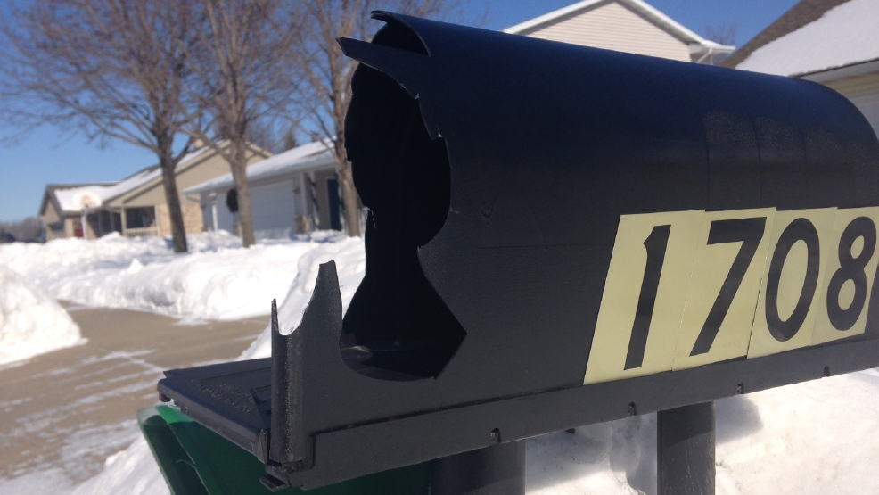 One of 33 mailboxes damaged in Kaukauna, Feb. 3, 2014.