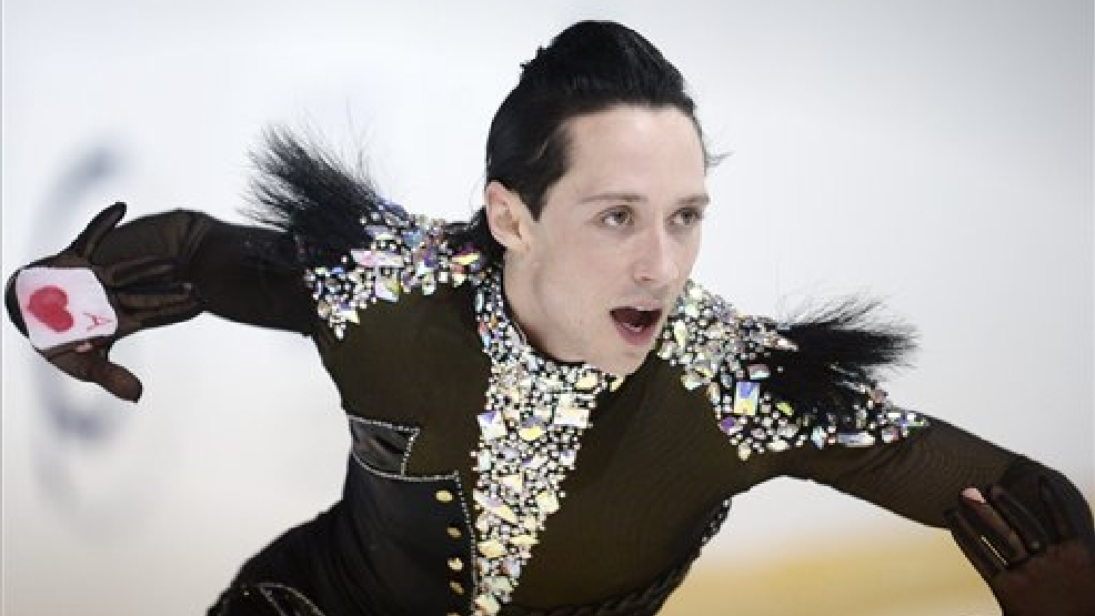 Johnny Weir of USA skating during the men's short program of 2012 Finlandia Trophy Espoo International figure skating competition in Espoo, Finland, Friday Oct. 5, 2012. (AP Photo / LEHTIKUVA, Antti Aimo-Koivisto)