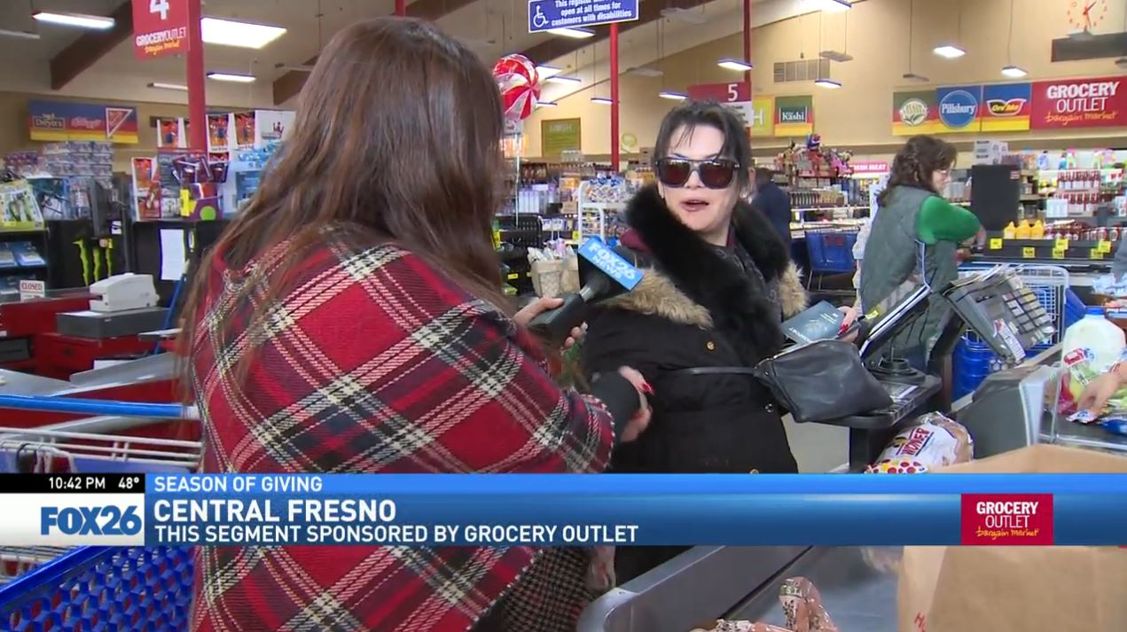 Watch what happened when FOX26 News reporter Liz Gonzalez surprised a woman shopping at the Grocery Outlet in Merced.