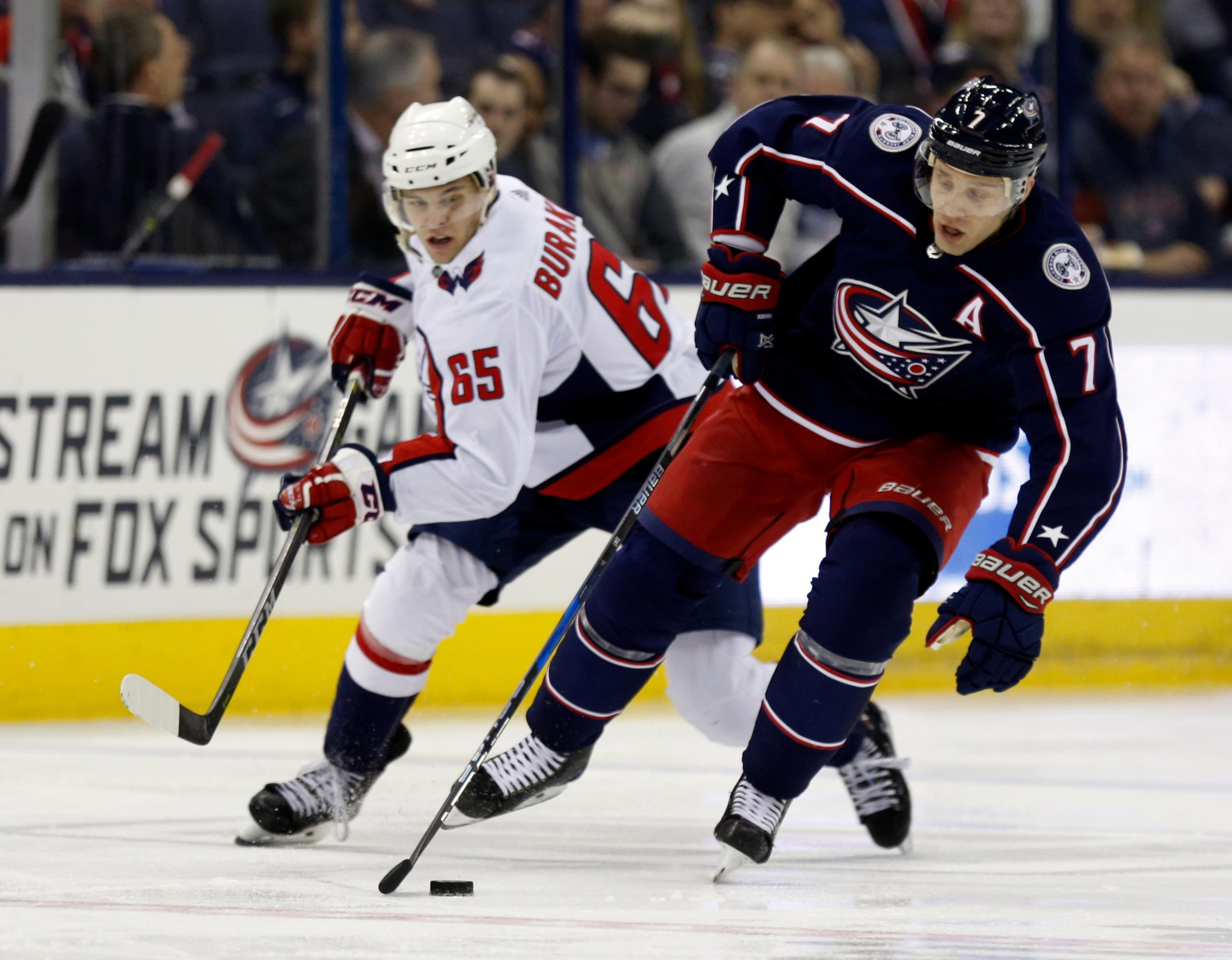 Columbus Blue Jackets defenseman Jack Johnson, right, controls the puck against Washington Capitals forward Andre Burakovsky, of Austria, during the second period of an NHL hockey game in Columbus, Ohio, Monday, Feb. 26, 2018. (AP Photo/Paul Vernon)