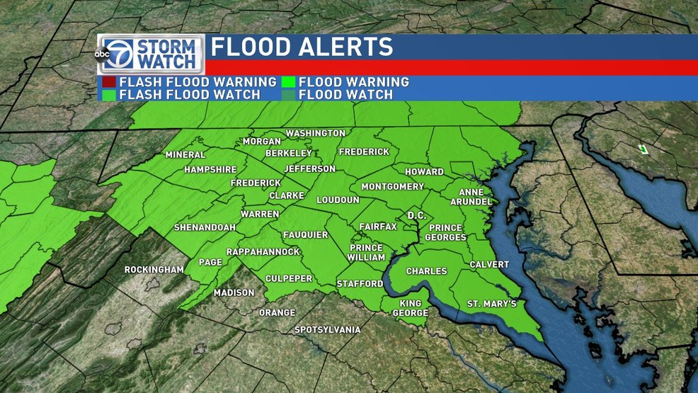 Flash Flood Watch Friday and Saturday; Heavy rain likely for DC