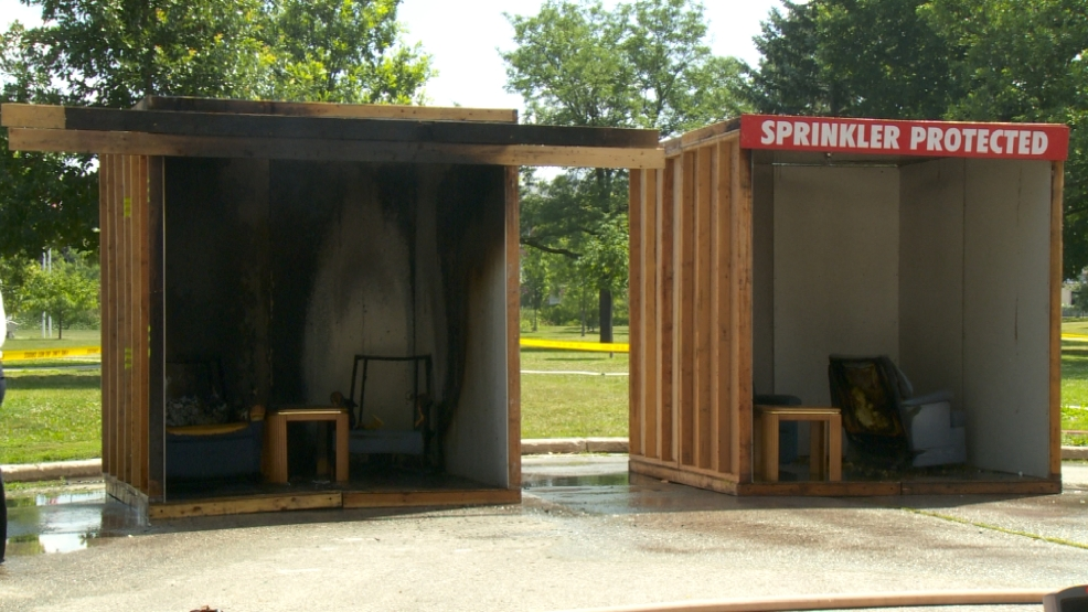 The Fond du Lac Fire Department shows the difference between a home with a fire sprinkler system and one without.