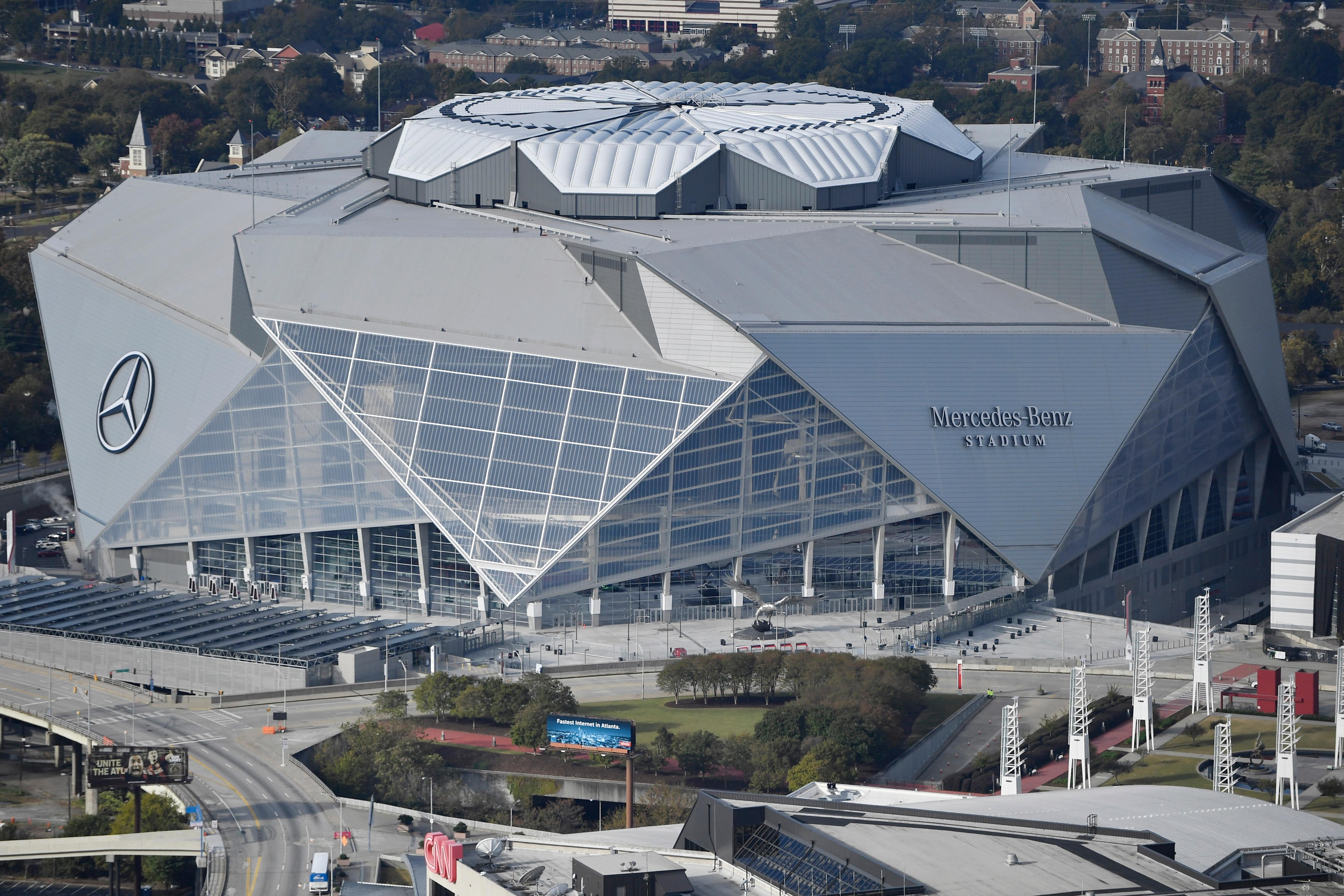 This Wednesday, Nov. 1, 2017 photo shows the Mercedes-Benz stadium in Atlanta. The stadium opened Aug. 26, 2017, with a Falcons' pre-season game against the Arizona Cardinals.  (AP Photo/Mike Stewart)