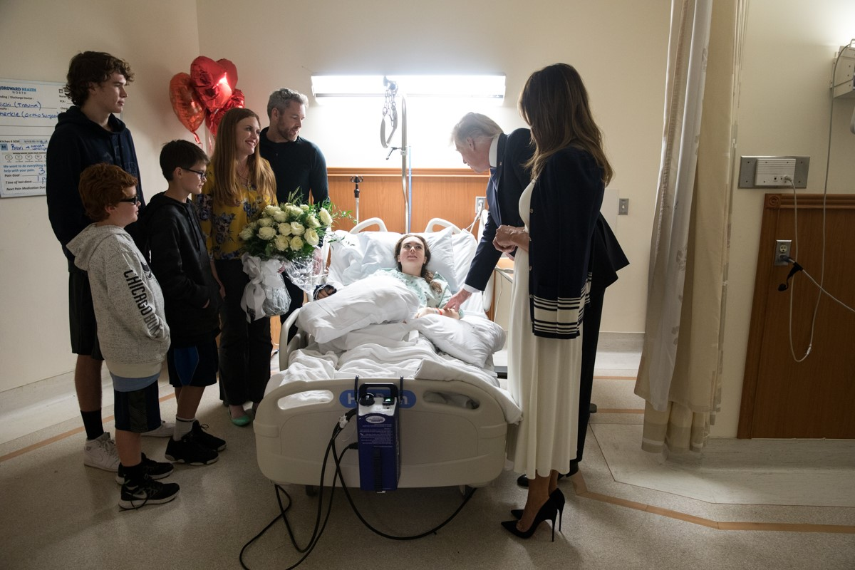 President Donald Trump and first lady Melania visit a survivor of the Marjory Stoneman Douglas High School shooting. (The White House)