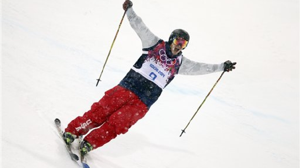 David Wise, of the United States, reacts after competing in the men's ski halfpipe final at the Rosa Khutor Extreme Park, at the 2014 Winter Olympics, Tuesday, Feb. 18, 2014, in Krasnaya Polyana, Russia. Wise won the gold medal. (AP Photo/Jae C. Hong)