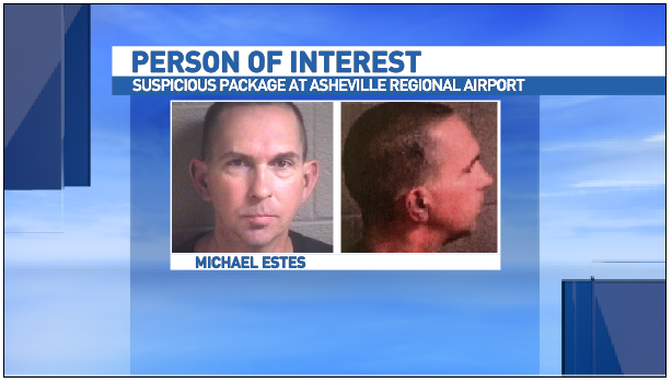 Authorities have identified the person of interest in the explosive device placed at Asheville Regional Airport on Friday as Michael Christopher Estes, 46. (Photo credit: Asheville Police Department)