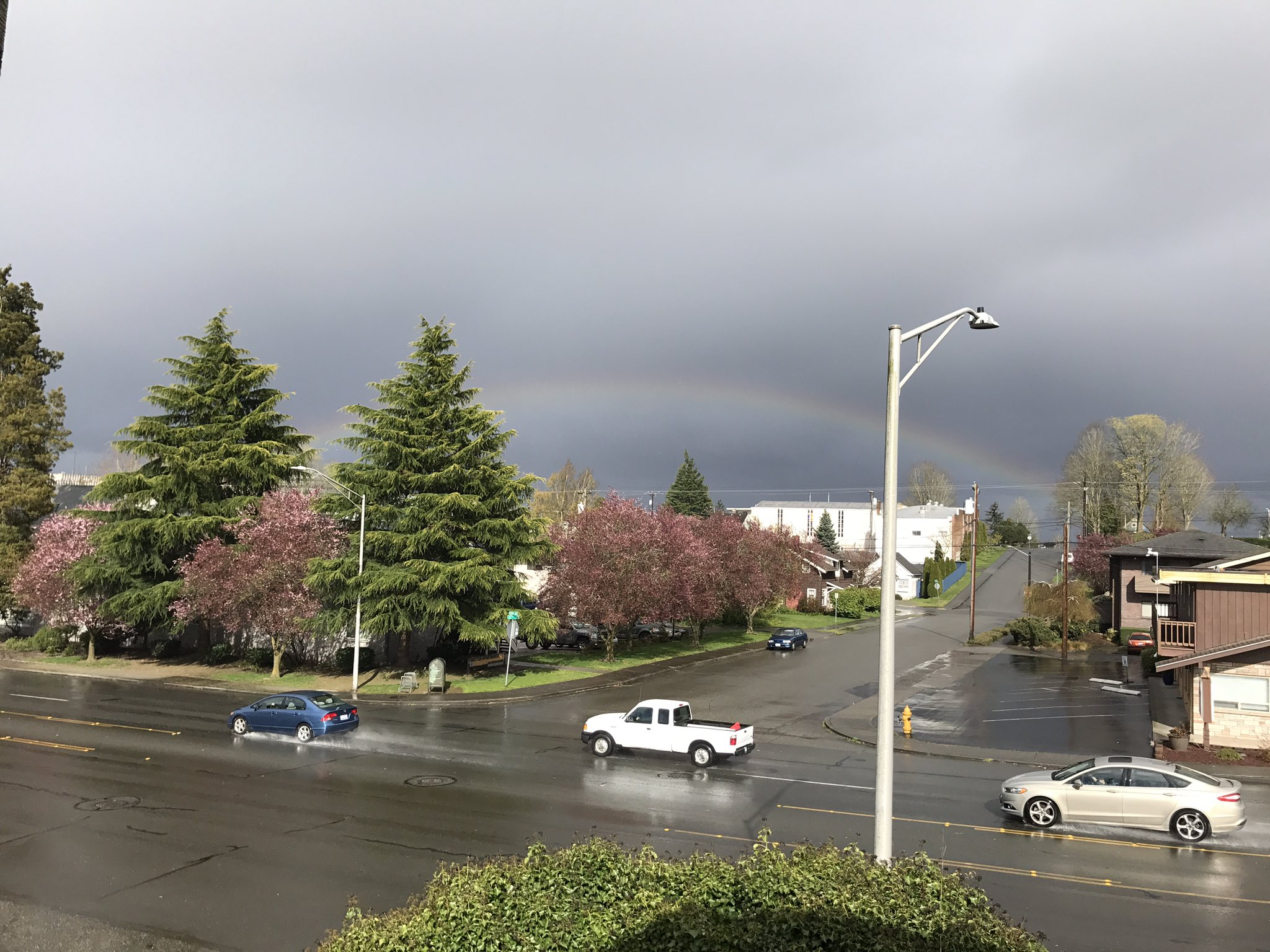 A rainbow is seen in the sky in Everett, Wash. Monday, April 10, 2017. (Photo: Steven Shannon)