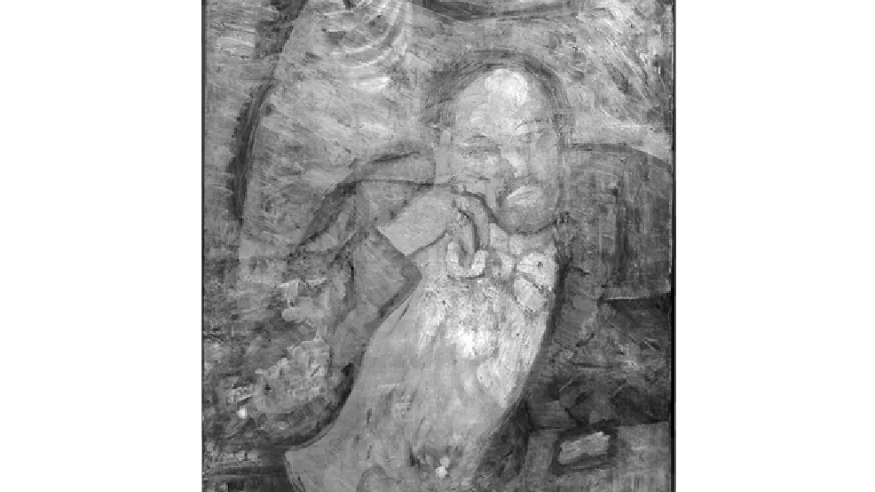 "This undated handout image provided by The Phillips Collection shows an infrared image of Pablo Picasso's ""The Blue Room,"" painted in 1901. Scientists and art experts have found a hidden painting beneath the painting. Advances in infrared imagery reveal a bow-tied man with his face resting on his hand, with three rings on his fingers. Now the question that conservators at The Phillips Collection in Washington hope to answer is simply: Who is he? It's a mystery that's fueling new research about the 1901 painting created early in Picasso's career while he was working in Paris at the start of his distinctive blue period of melancholy subjects. (AP Photo/The Phillips Collection)"