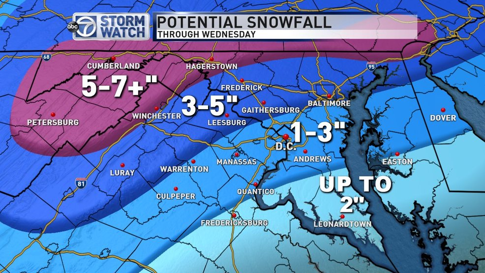 Accumulating snow and sleet across parts of the DC area Tuesday into Wednesday