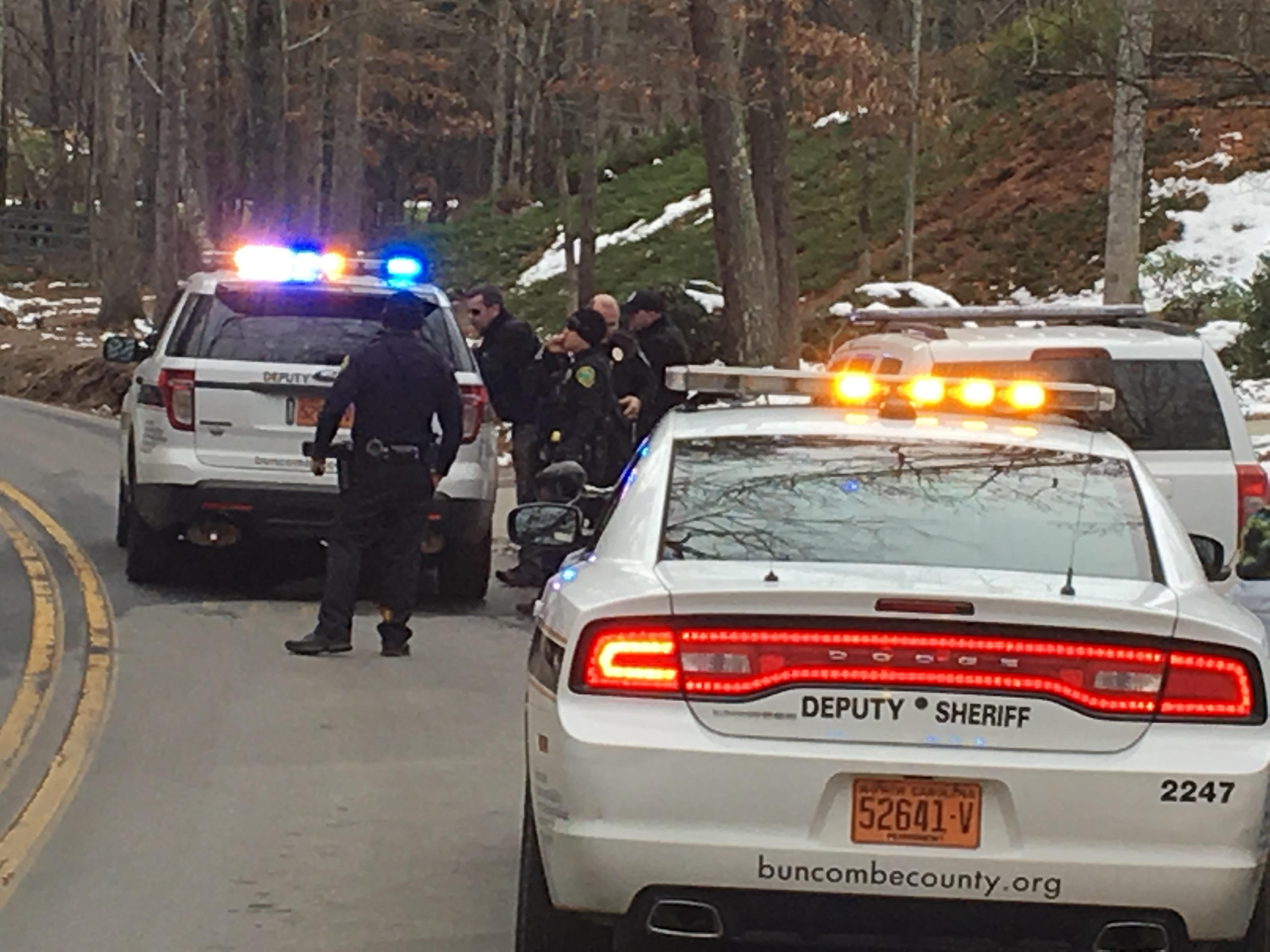 Authorities are investigating a domestic incident that started on N.C. 280 outside Mills River. (Photo credit: WLOS staff)