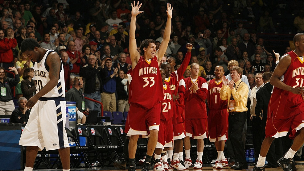 Winthrop's Phillip Williams celebrates after the Eagles beat Notre Dame in the NCAA Tournament on March 16, 2007, in Spokane, Wash. (Photo by Robert Beck/Sports Illustrated/Getty Images)