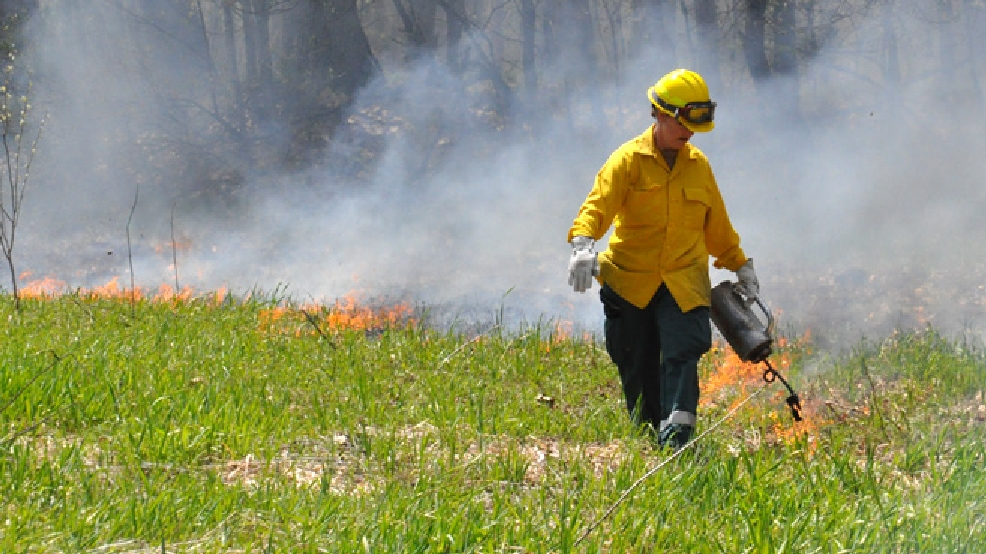 The Wisconsin Department of Natural Resources conducts a prescribed burn at Navarino Wildlife Area, May 23, 2014. (WLUK/Gabrielle Mays)