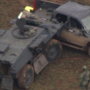 Traffic stop leads to compelling chase with police in tank, suspect in truck
