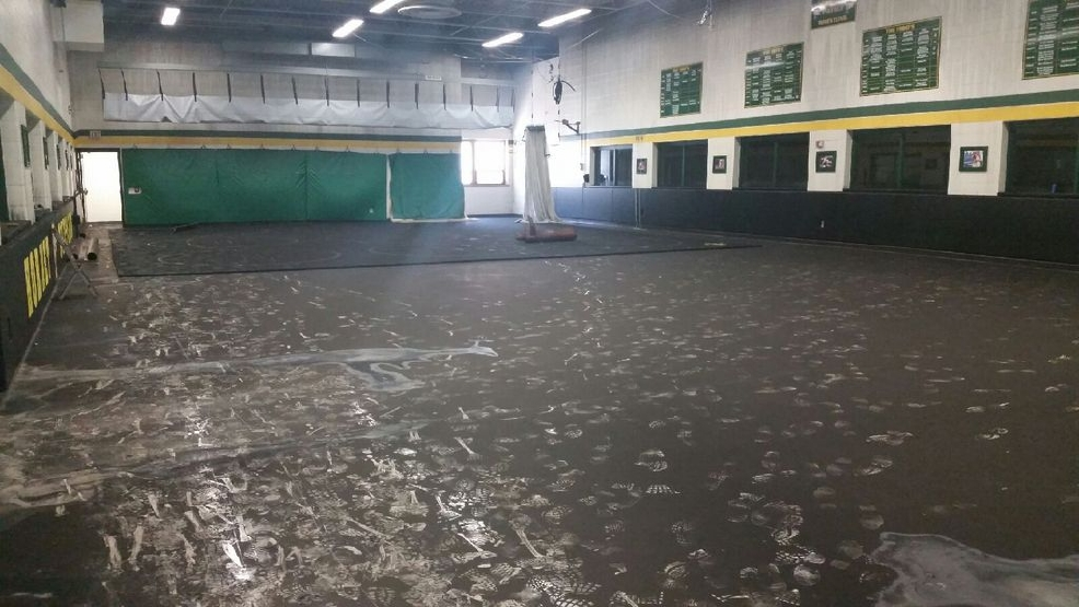 A fire damaged the gym at Preble High School in the early morning hours of August 8, 2014. (Photo Courtesy: Green Bay School District)