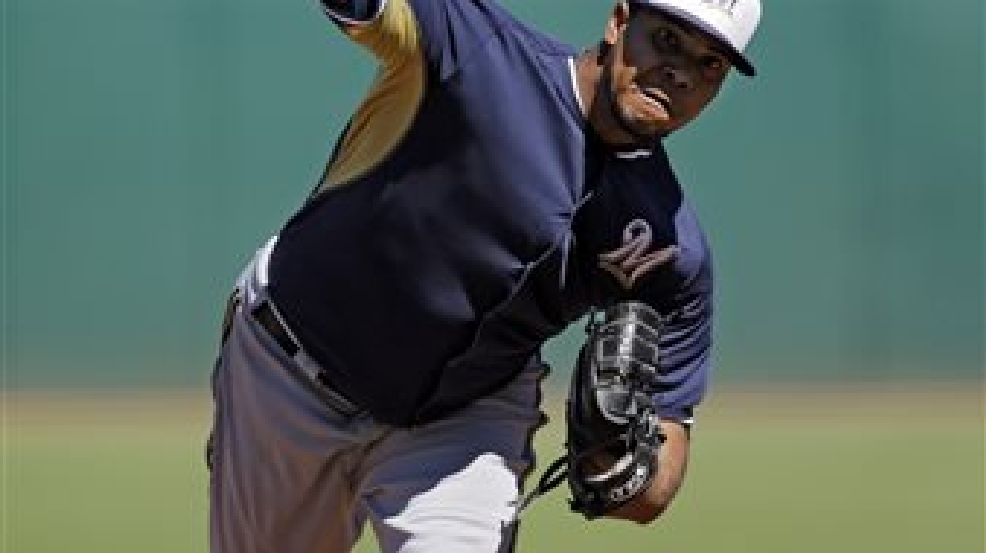 Milwaukee Brewers starting pitcher Wily Peralta delivers against the Cleveland Indians in the first inning of a spring exhibition baseball game on Sunday, March 9, 2014, in Goodyear, Ariz. (AP Photo/Mark Duncan)