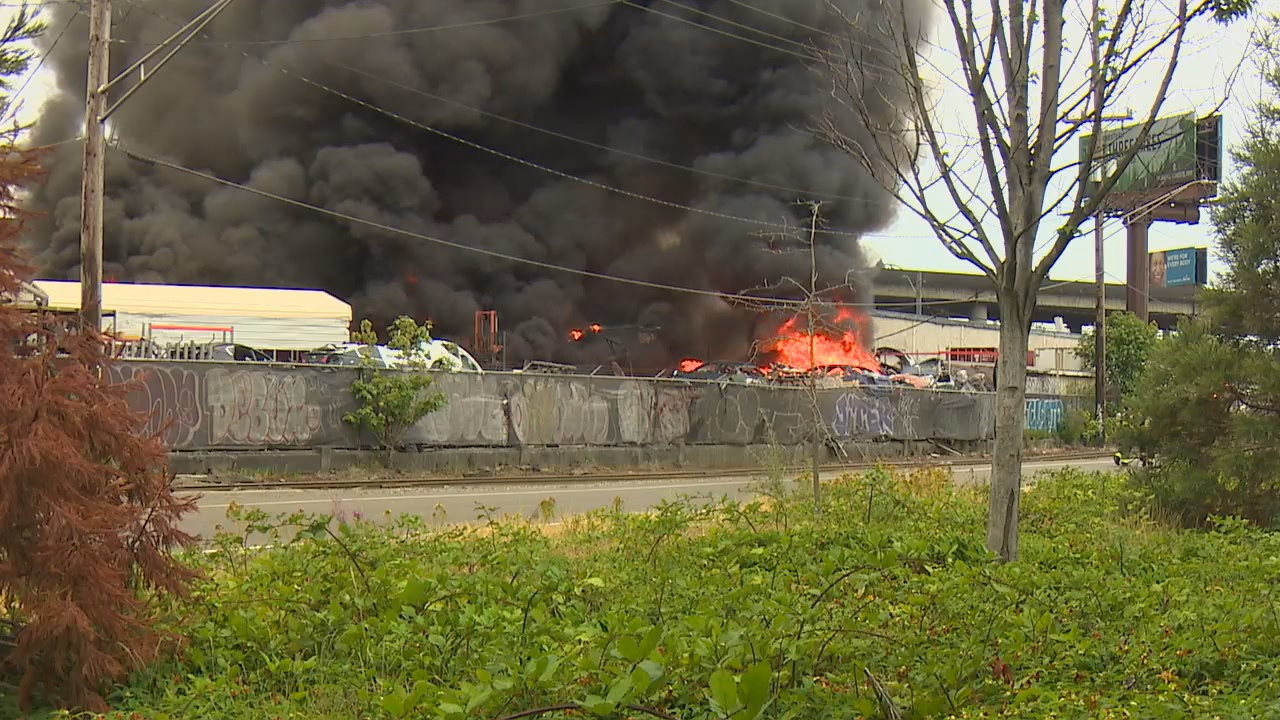 Firefighters battle a huge warehouse fire along East Marginal Way S. in Seattle, Wednesday, July 4, 2018. (Photo: KOMO News)