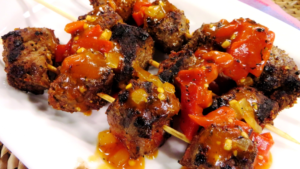 kabobs with red pepper sauce