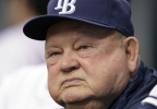 FILE - In this Sept. 1, 2010 file photo, Tampa Bay Rays special advisor Don Zimmer looks on during a baseball game between the Tampa Bay Rays and the Toronto Blue Jays in St. Petersburg, Fla. Don Zimmer, a popular fixture in professional baseball for 66 years as a manager, player, coach and executive, has died. He was 83. (AP Photo/Chris O'Meara, File)