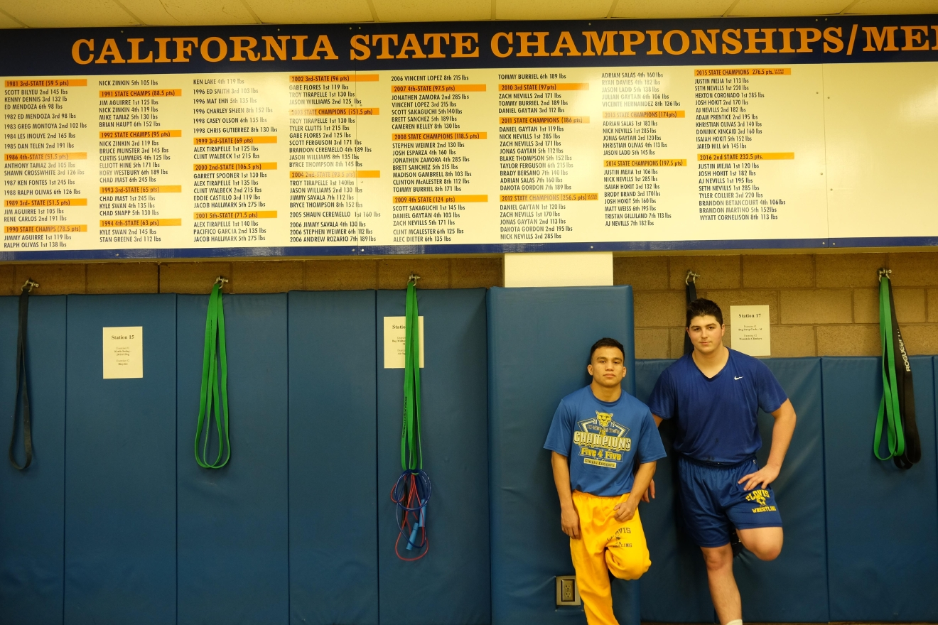 clovis wrestlers mejia nevills chase history kmph the state championship wall in clovis high s wrestling room already features justin mejia s three times