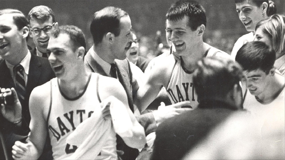 Don May, right, and Dayton celebrate their 76-62 victory against North Carolina in the 1967 Final Four. (Courtesy University of Dayton Archives)
