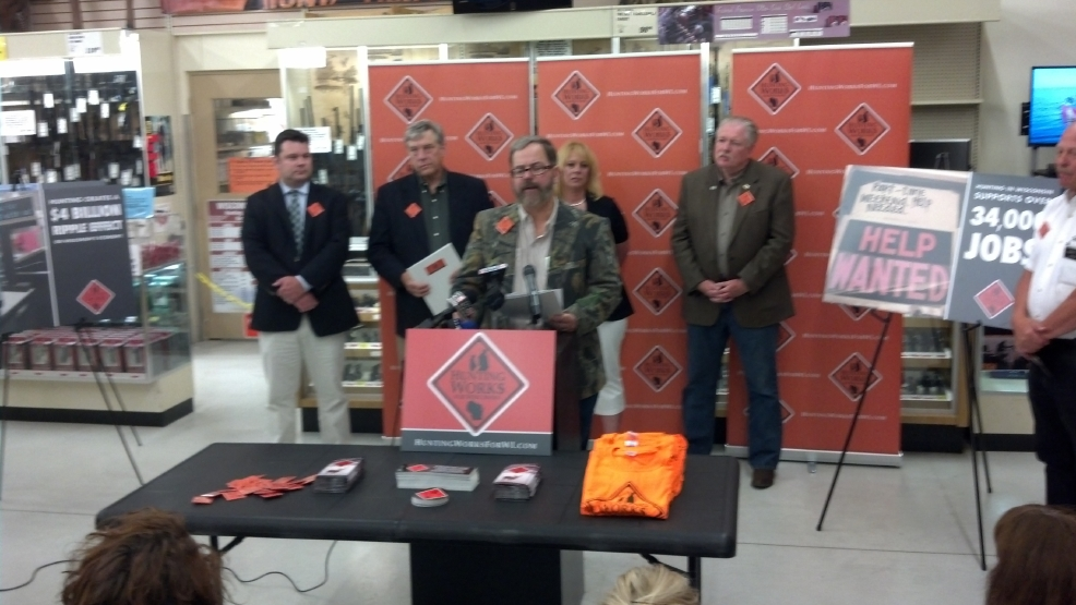 Mark LaBarbera annnounces the Hunting Works for Wisconsin initiative at a Green Bay Fleet Farm store