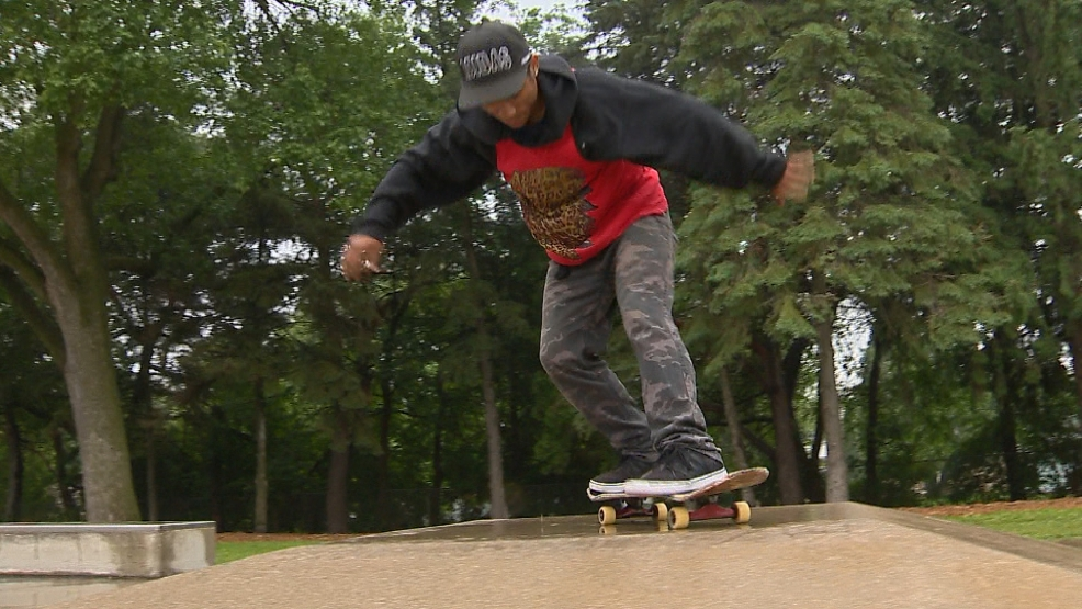 Mario Ricketts celebrating Go Skateboarding Day at Joannes Park in Green Bay.