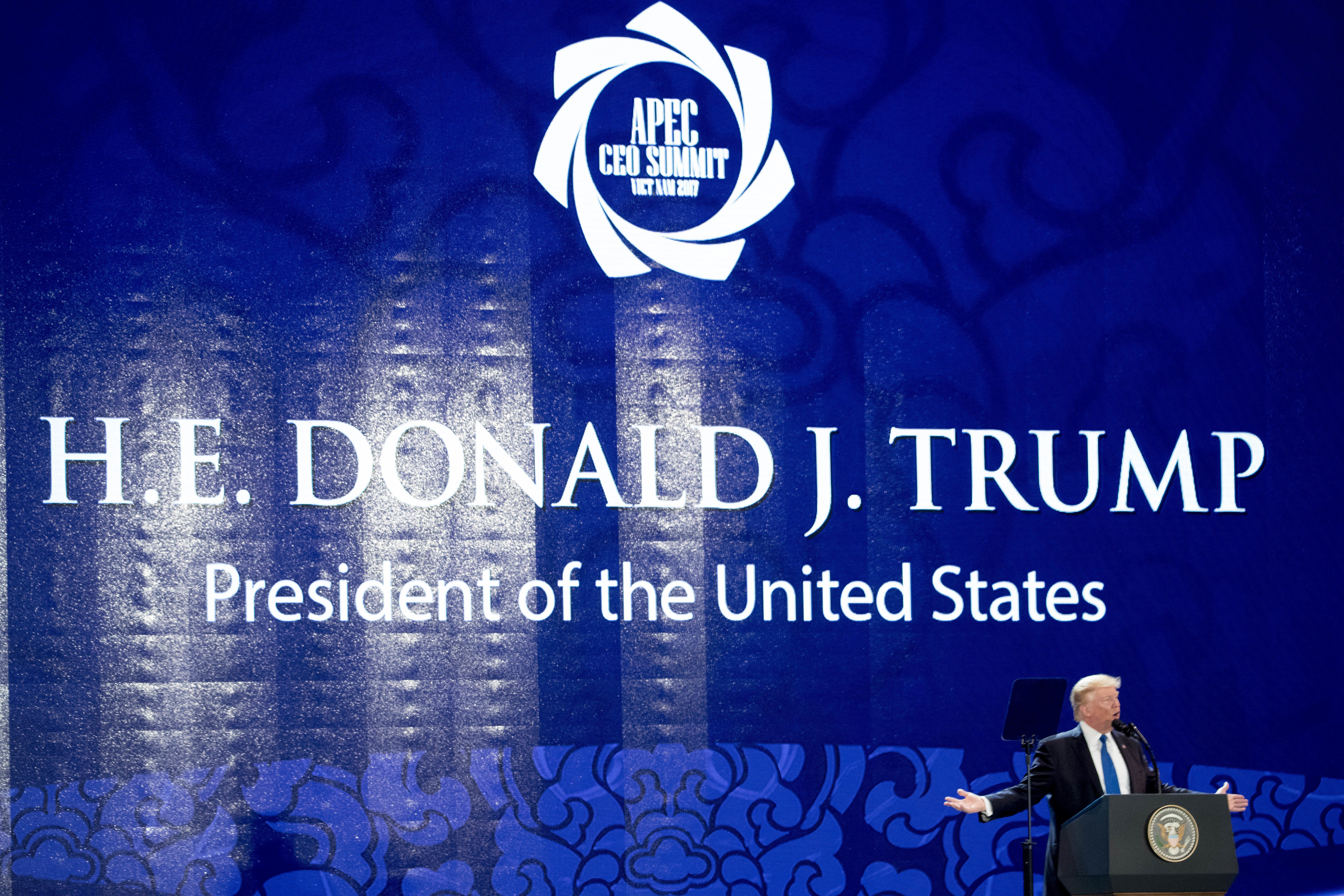 U.S. President Donald Trump speaks at the Asia-Pacific Economic Cooperation (APEC) CEO Summit at the Aryana Convention Center, Friday, Nov. 10, 2017, in Danang, Vietnam. Trump is on a five country trip through Asia traveling to Japan, South Korea, China, Vietnam and the Philippines. (AP Photo/Andrew Harnik)