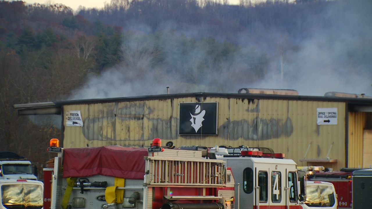 The cause of a massive industrial building fire and explosion in Fletcher is under investigation. (Photo credit: WLOS Staff)
