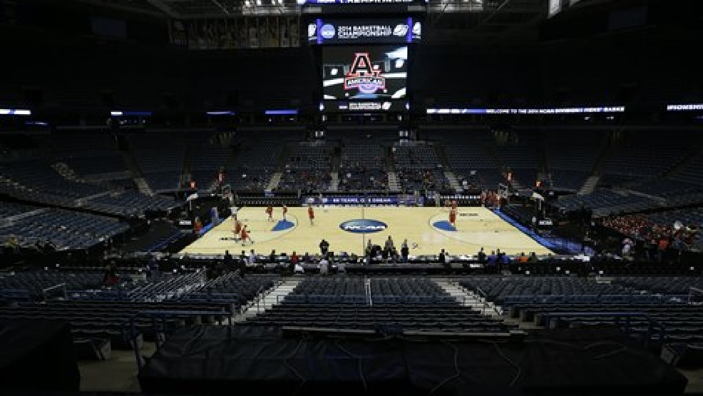 American University players warm up at BMO Harris Bradley Center during a practice session for their NCAA college basketball tournament game Wednesday, March 19, 2014, in Milwaukee. (AP Photo/Morry Gash)