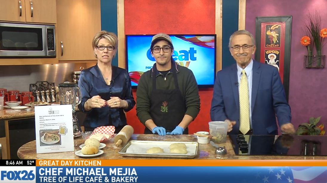 Chef Michael Mejia shows how to fill a bierock