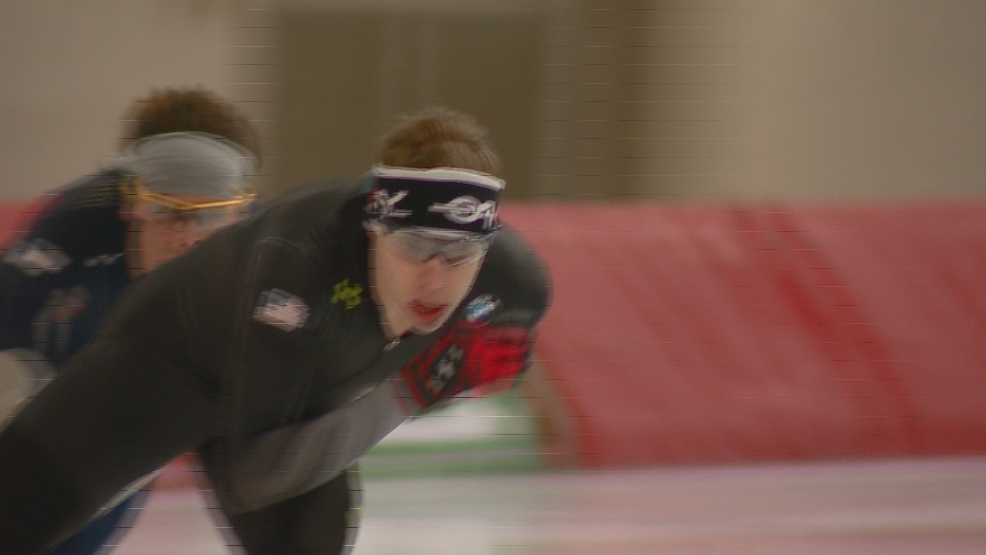 U.S. speed skater Brian Hansen trains in Milwaukee ahead of the 2014 Winter Games. (WLUK)