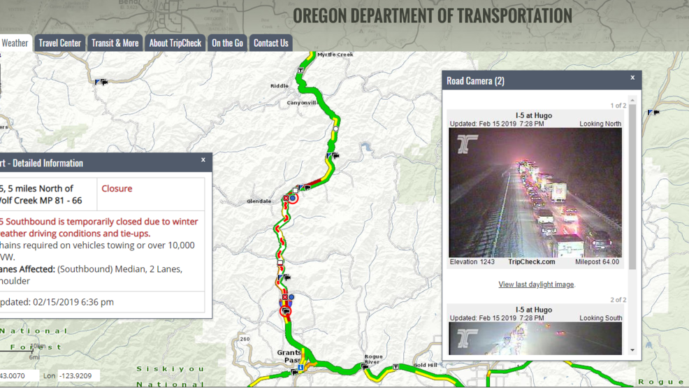 Traffic Alert: all interstate-5 lanes temporarily closed due