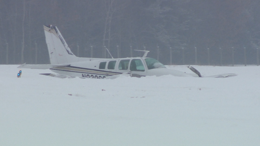 Authorities say three people were hurt when a plane made a hard landing at an airport near Oconto on February 13, 2014.