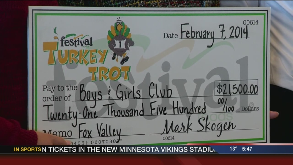 Festival presents checks from Turkey Trot