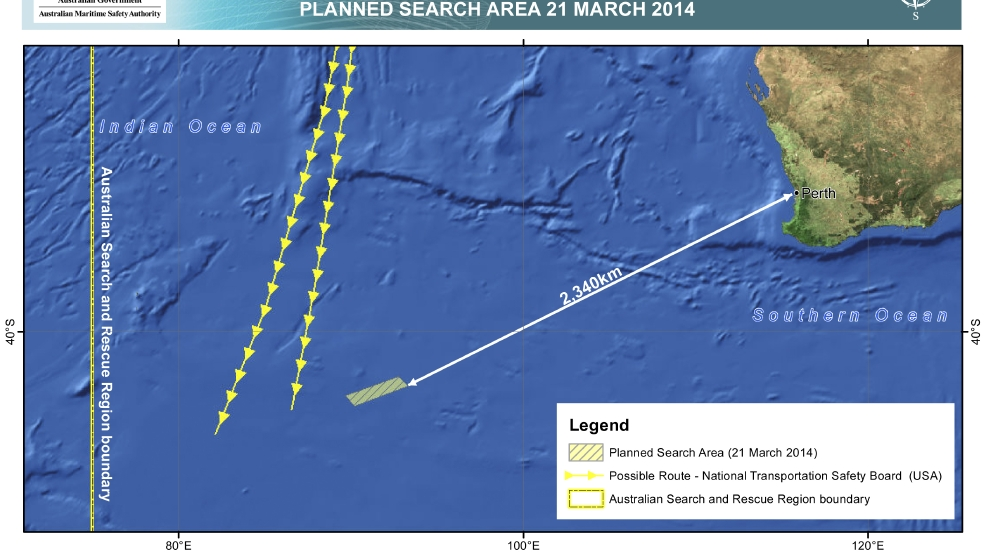 This Friday, March 21, 2014 graphic provided by Australian Maritime Safety Authority (AMSA), shows an area in the southern Indian Ocean that the AMSA is concentrating its search for the missing Malaysia Airlines Flight MH370 on. (AP Photo/Australian Maritime Safety Authority)