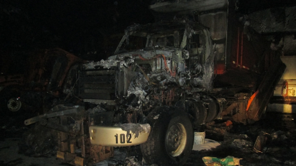 Sheriff's officials say the fire caused more than $1 million damage to six heavy trucks, a front end loader and a skid steer. (Marathon County Sheriff's Department)