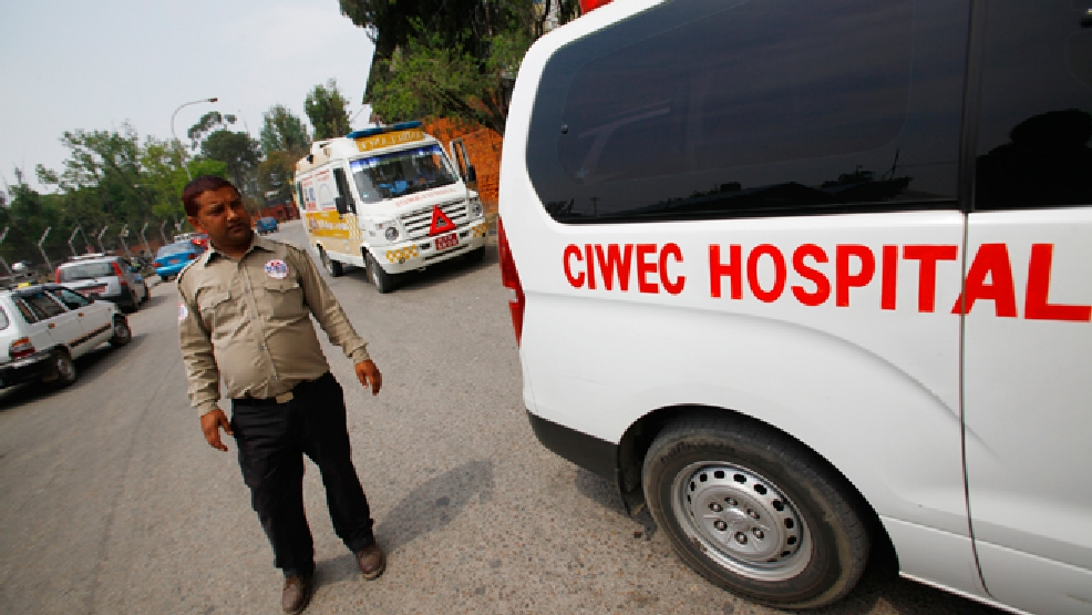 Ambulances are seen waiting outside the Domestic Airport, waiting for injured people of avalanche to arrive, in Katmandu, Nepal, Friday, April 18, 2014. An avalanche swept down a climbing route on Mount Everest early Friday, killing at least 12 Nepalese guides and leaving three missing in the deadliest disaster on the world's highest peak. (AP Photo/Niranjan Shrestha)